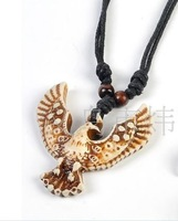 free shipping whole 12pcs/lot Tibet ox bone carved flying eagle Pendant necklace