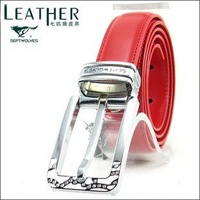 Free shipping.septwolves woman leather belt .red ladies' belt best quality,792038120