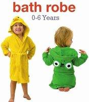 10pcs/lot free shipping LINDA baby cartoon bathrobe children robe bright-colored,soft feel,cute designed,