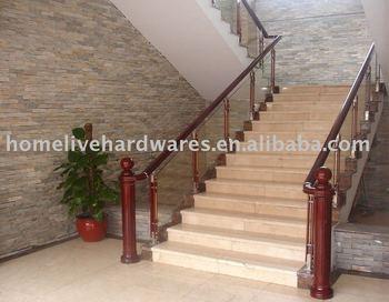 stainless steel+ wood  Brightening / titanium gold handrail