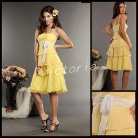 Free Shipping spaghetti straps 7245 short daffodil Chiffon Bridesmaid Dress