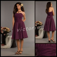 Free Shipping  Best Selling 100% Guaranteed 7250 sleeveless short Grape Chiffon Bridesmaid Dress