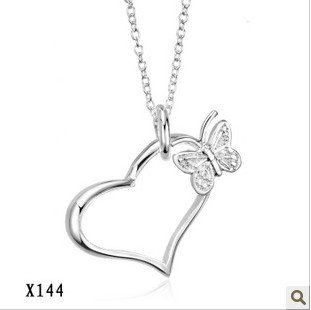 Free Shipping,Fashion Silver Plated Jewelry Wholesale,925 Sterling Silver Plating, Elegant Silver Necklace.X144