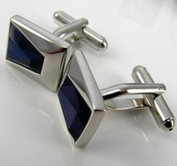 christmas Free shipping Blue Crystal inlaid Shirt cuff Cufflinks  drop shipping for men's gift a74#