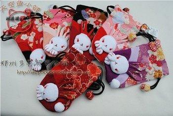 Free shipping by EMS Chirimen Rabbit Mobile Phone Bag/cellphone bag/gifts bag/cosmetic bag/Japan (PB-03)