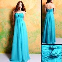 Free Shipping wholesale Elegant 7321 Floor-length Lake Blue Chiffon Bridesmaid Dress/Party Dress