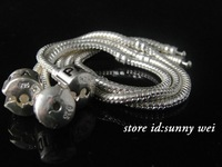 "Wholesale 5pcs sterling Silver European Charm Bead Bracelet snake chain 7.5"",5pcs/lot,Hot!"