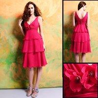 2011 Reasonable Price New Design 7307 Knee-length Straps chiffon Bridesmaid Dress/Party Dress