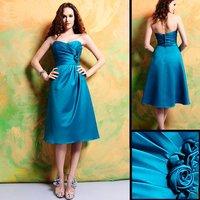 Elegant Hot Selling 7311 Tea-length Sleeveless Blue Satin Bridesmaid Dress/Party Dress