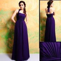 Free Shipping 7314 Elegant Floor-length Halter Contrast Color Chiffon Bridesmaid Dress/Party Dress