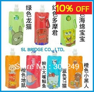 Free Shipping! Portable folding sports water bottle/foldable water bottle 480ml(16oz)(50 styles) 10pcs/lot SL   I11373SL