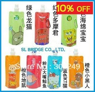 Free Shipping! Portable folding sports water bottle/foldable water bottle 480ml(16oz)(50 styles) 10pcs/lot SL   I11373SL