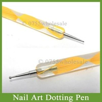 2-way Nail Art Marbleizing Dotting Pen Nail Paint Pen 50pcs/lot Free Shipping