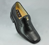 2015 - Cheap men's black genuie leather shoes with invisible insole make you be 2.75 inches taller .
