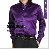 shirt Men's retail shiny silk satin long-sleeved