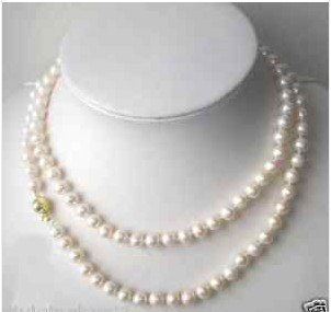 Beautiful 7-8MM White Akoya Pearl Necklace 32""