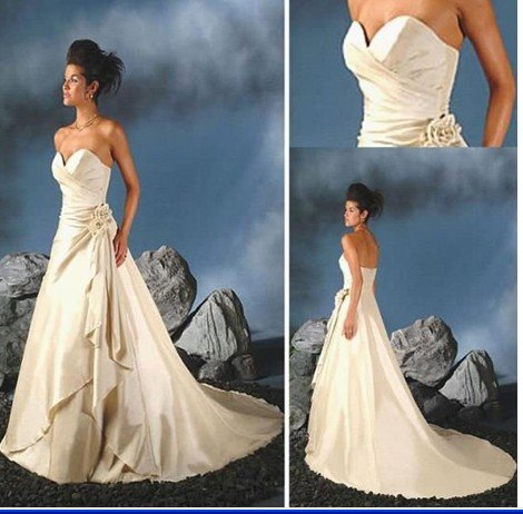 2011 Newest elegance strapless retail or wholesale off-shoulder cathedral train Bridal Gown wedding dress bride dress(China (Mainland))