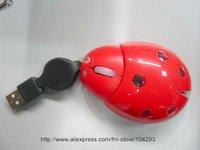 Free shipping 10pcs/lot ladybug optical mouse for laptop