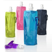 100pcs/lot Outdoor Travel Portable Folding&Go water bottle with Guard (mixed colors: Green, Purple, Pink, Black, Blue etc)
