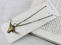 FREE SHIPPING 3 Pcs Antiqued Bronze Bull Head Pendant Necklaces #20032
