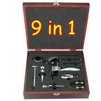 Wholesale New In Box 9 in 1 Deluxe Corkscrew Wine Opener Kit / Set Free EMS Shipping