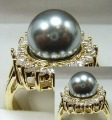 GOLD FILLED RING WITH ARTIFICAL PEARL AND STONES 8#
