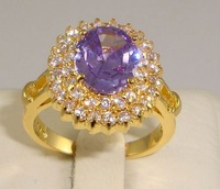 Free Shipping New Wholesale and retail Noblest  alexanrite Ring in 14K Yellow Gilding Size 8