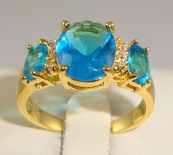 Free Shipping New Wholesale and retail Exquisite Sapphire in 14KT yellow Gilding Size 8