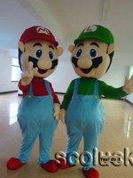 ^-^ Lovely Pair of Super Mario & Captain Luigi Cartoon Mascot Costume for Birthday party