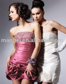 (MPC-26)Hot Sale Strapless Beaded Sheath Handmade Flower Taffeta Cocktial Dress