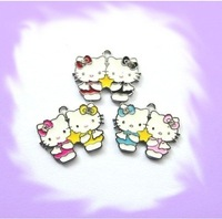 100pcs Hello-kitty Hang Charms Fit Pet Dog Cat Tag Collar Wristband
