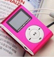 2GB  LCD FM Mp3 Player Mini Metal Clip Mp3 Pink