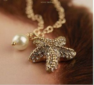 Imitation pearl necklace and very cute sea star pendant necklace,alloy gold color chain necklace(China (Mainland))