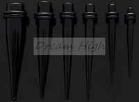 Wholesale Ear Expander Ear taper Stretchers Ear plugs UV Acrylic Black Earring Body piercing 500pcs/lot 1.6-10mm Free Shipping