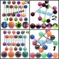 Mixing  colors& different designs Uv  tongue rings with logo body piercing jewelry body jewelry