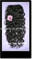 """Bleached knots black tight curly human  hair top closure swiss lace 3.5""""*4"""""""