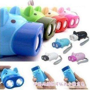 DHL Free shipping LED Flashlight Hand Press Manual Torch 2 LED Light Plastic Piggy Brand New