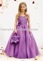 Free Shipping Promotion Wholesale 2014 Purple Taffetta Long  Fashion  Flower Girl Dresses
