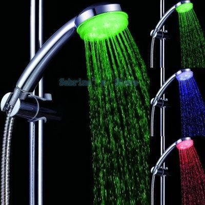 Freeshipping water flow power (no battery) LED Shower ,According to water temperature change three colors (green blue red)(China (Mainland))