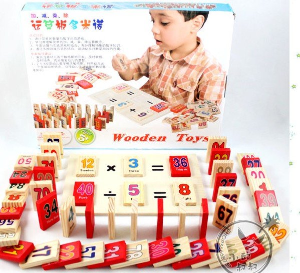 Children's creative gifts toys/Digital operation board, Math domino game/Wooden figures of children educational toys(China (Mainland))