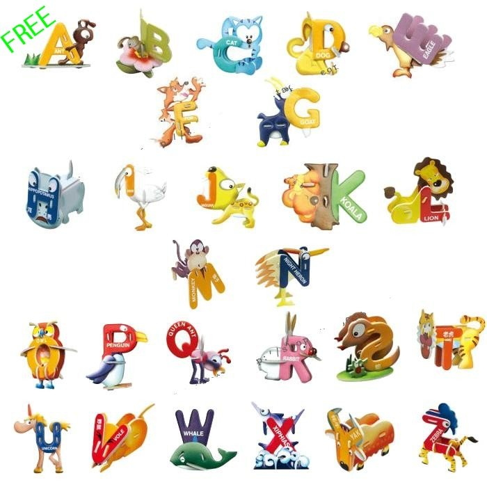 Free shipping, Wholesales & retail, Children's & adult toy, Educational DIY toy, 26 alphabet 3D jigsaw puzzle