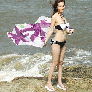 2011 New Fashion Beach Chiffon Veil Swimwear Beach Towel Bikinis Yarn Purple ...