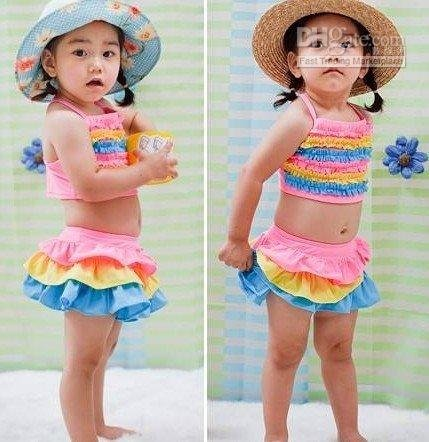 new.girl rainbow skirt, child / infant split suit, with cap / swimming suit(China (Mainland))