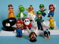 12pcs/set free shipping Super Mario bros mini figurine Figurine Toy Doll