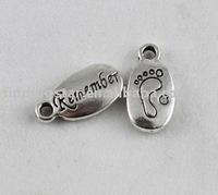 FREE SHIPPING 150PCS Tibetan Silver REMEMBER feet charm A9894