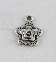 FREE SHIPPING 120PCS Tibetan Silver cute flower charms A9902