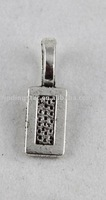 FREE SHIPPING 200PCS Tibetan Silver glue on bail cabochon settings rectangle charms 12mm A12362