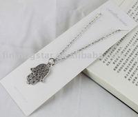 FREE SHIPPING 3PCS Tibetan silver Hamsa Hand Pendant Necklace #20041