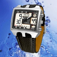 Hot ! Fashion Digital Sports Ohsen Leather Multifunction Military Watch