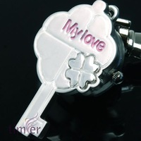 Free Shipping  Wholesale - PINK MY LOVE KEY RING CHAIN POCKET PENDANT WATCH CLOCK Xmas Gift 20pcs/lot